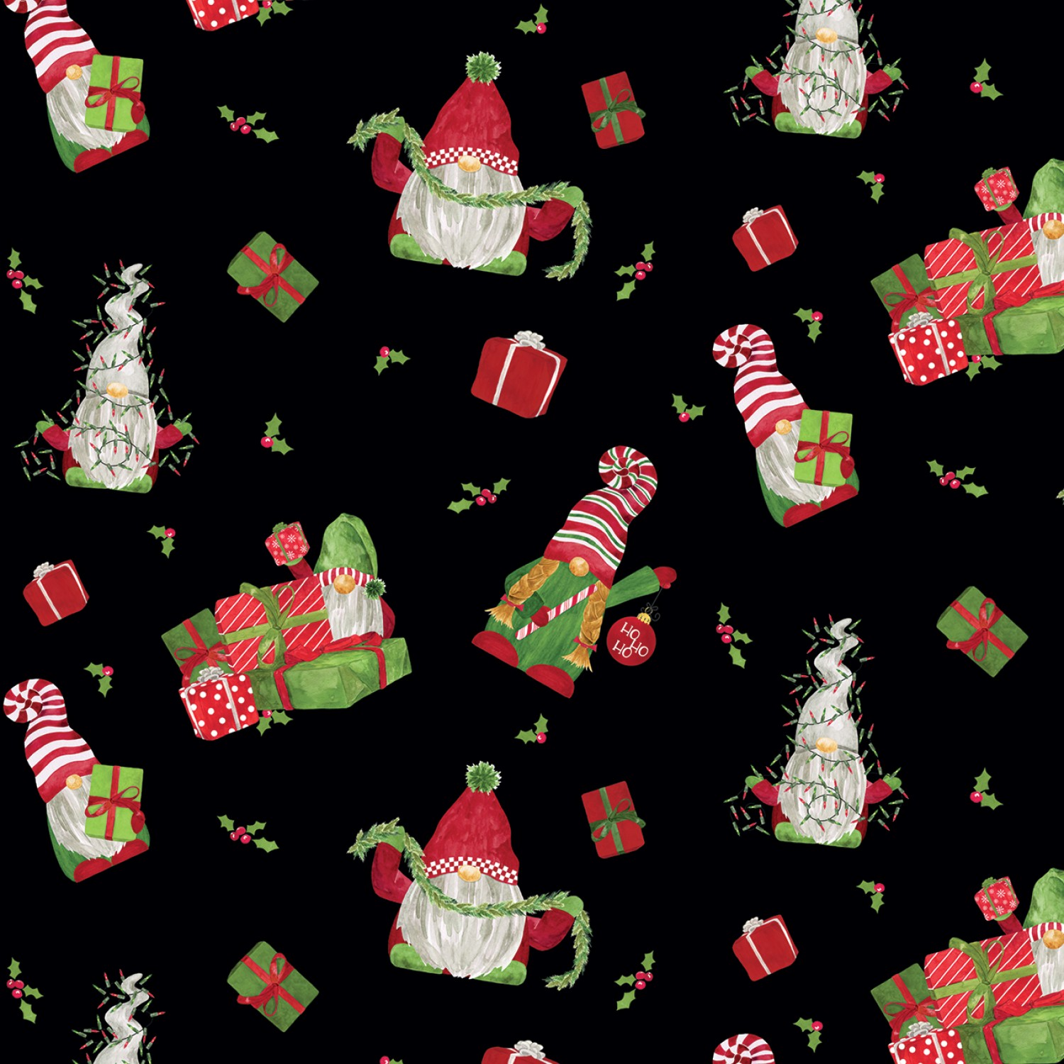 Gnome for Christmas FLANNEL F10610 Black Tossed Gnomes Riley Blake