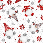 Winter Whimsey Flannel F1623 8 Tossed Gnomes White, Henry Glass