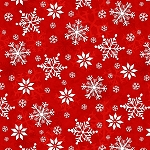 Winter Whimsey Flannel F1624 88 Red Snowflakes, Henry Glass