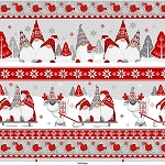 Winter Whimsey Flannel F1629 89 Novelty Gnome Border, Henry Glass