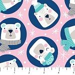 Frost Bite Flannel F22798 21 Pink Circle Bears, Northcott