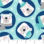 Frost Bite Flannel F22798 62 Aqua Circle Bears, Northcott