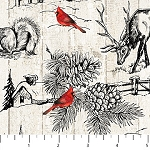 Cardinal Woods Flannel F22836 11 Sketch Northwoods, Northcott