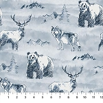 Misty Mountain Flannel F22976 42 Classic Denim Animals, Northcott