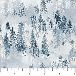 Misty Mountain Flannel F22979 42 Classic Denim Snow Trees, Northcott