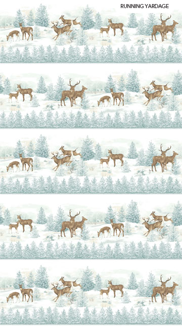 Frosted Woodland Flannel F23630 42 Border, Northcott