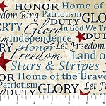 Stonehenge Stars and Stripes Flannel F39195 30 Patriotic Words, Northcott