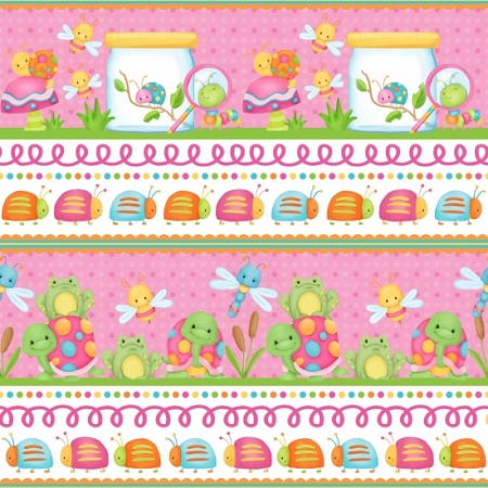 Cuddle Bug Flannel F6695 22 Pink Border, Henry Glass