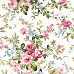 Wild Rose Flannel F7880 W Delicate Floral White, Maywood Studio