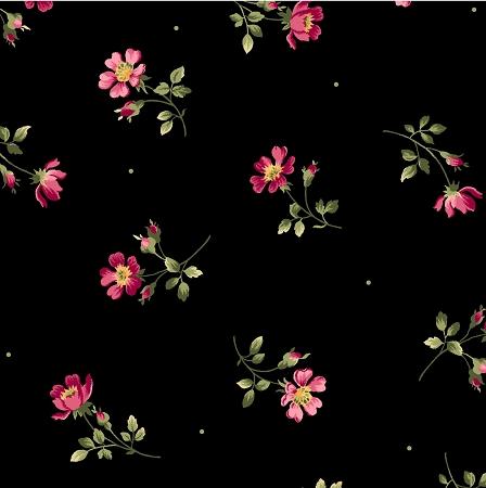Wild Rose Flannel F7881 J Single Flowers Black Maywood Studio