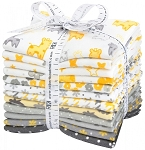 Yellow Grey Cozy Flannel Fat Quarter Collection, Kaufman
