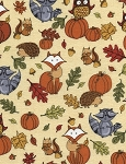 Autumn Woodland Animals CF3665 Cream Flannel, Timeless Treasures