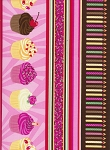 Timeless Treasures C7118 Pink Cupcake Border Stripe