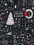 Let It Snow C6884 Black Chalk Christmas Tossed, Timeless Treasures