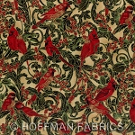 Winter Wishes K7172 33G Cream/Gold Small Cardinals, Hoffman