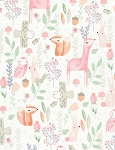 Woodland Animals C6578 Milk Allover Animals, Timeless Treasures