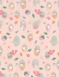 Woodland Animals C6580 Blush Oval Animals, Timeless Treasures