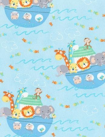Sleepy Bear Flannel Fabric Bear Jumping Sheep Blue Children Baby Henry Glass