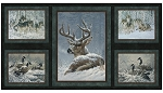 LF 8021 8C 1 Quilt Panel  Blue/Grey Winter Deer