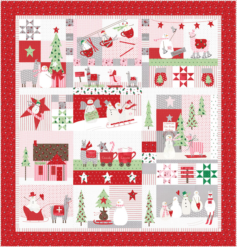 Merry Merry Snow Days Quilt Kit, Bunny Hill by Moda