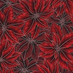 Warm Wishes N7524 5S Red Silver Poinsettia, Hoffman