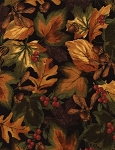Leaves, Acorns, Berries CF3570 Black Flannel, Timeless Treasures