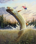 Fish and Fowl 8720 Leaping Muskie Digital Panel, Riley Blake