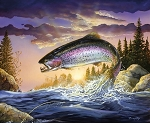 Fish and Fowl 8722 Rainbow Trout Digital Panel, Riley Blake