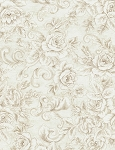 Paris C3790 Cream Tonal Rose Scroll, Timeless Treasures
