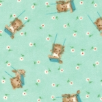 Peachy Keen Flannel 32612 18F Aqua Swinging Kittens Moda