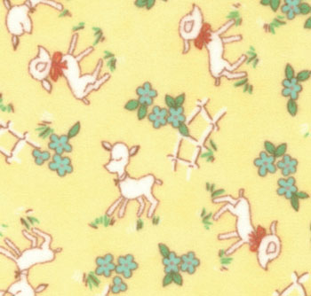 Peachy Keen Flannel 32613 16F Canary  Yellow Lambs Moda