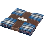 Mammoth Flannel 10 Inch Layer Cake Squares Blue, Kaufman