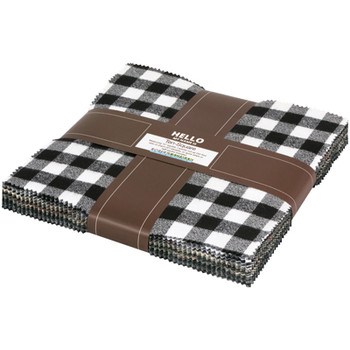 Mammoth Flannel 10 Inch Layer Cake Squares Black, Kaufman