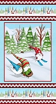 Gnoming Through the Snow 1098P 11 Blue Panel Blank Quilting