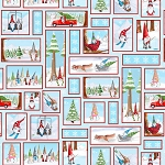 Gnoming Through the Snow 1103 11 Blue Gnome Patches Blank Quilting