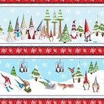 Gnoming Through the Snow 1105 11 Blue Gnome Border Stripe Blank Quilting