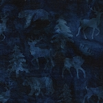 Prairie Skies 121903591 Nordic Animals Midnight Blue Island Batiks