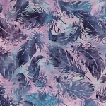 Catching Dreams 121922410  Tossed Feather Lilac, Island Batiks