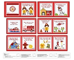 Everyday Hero 1353P 88 Red Firefighter Fabric Book Blank Quilting