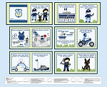 Everyday Hero 1354P 70 Blue Police Fabric Book Blank Quilting