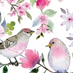 Love Always Purple Bird Floral Digital 13824 White, 3 Wishes Fabric
