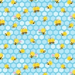 Busy Bees 1413 11 Small Honeycomb Bees Blue, Henry Glass