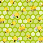Busy Bees 1413 66 Small Honeycomb Bees Yellow, Henry Glass