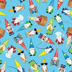 Hangin With My Gnomies 1444 70 Blue Tossed Gnomes Blank Quilting