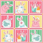 Down on the Bunny Farm 1840 22 Pink Squares, Henry Glass