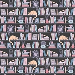 Literary Collection 21190525 4 Charcoal Shelfie Camelot Fabrics