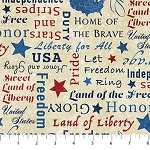 Stonehenge Stars and Stripes 8 23461 12 Patriotic Words, Northcott