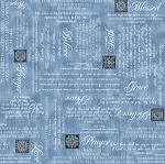 Heavenly Words 24571 B Blue, Quilting Treasures