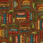 Outdoor Adventure 24586 A Brown Camping Mottos, Quilting Treasures