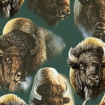 Where the Buffalo Roam 24989 F Forest Packed Bison, Quilting Treasures
